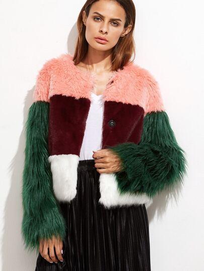 Color Block Hidden Button Faux Fur Coat