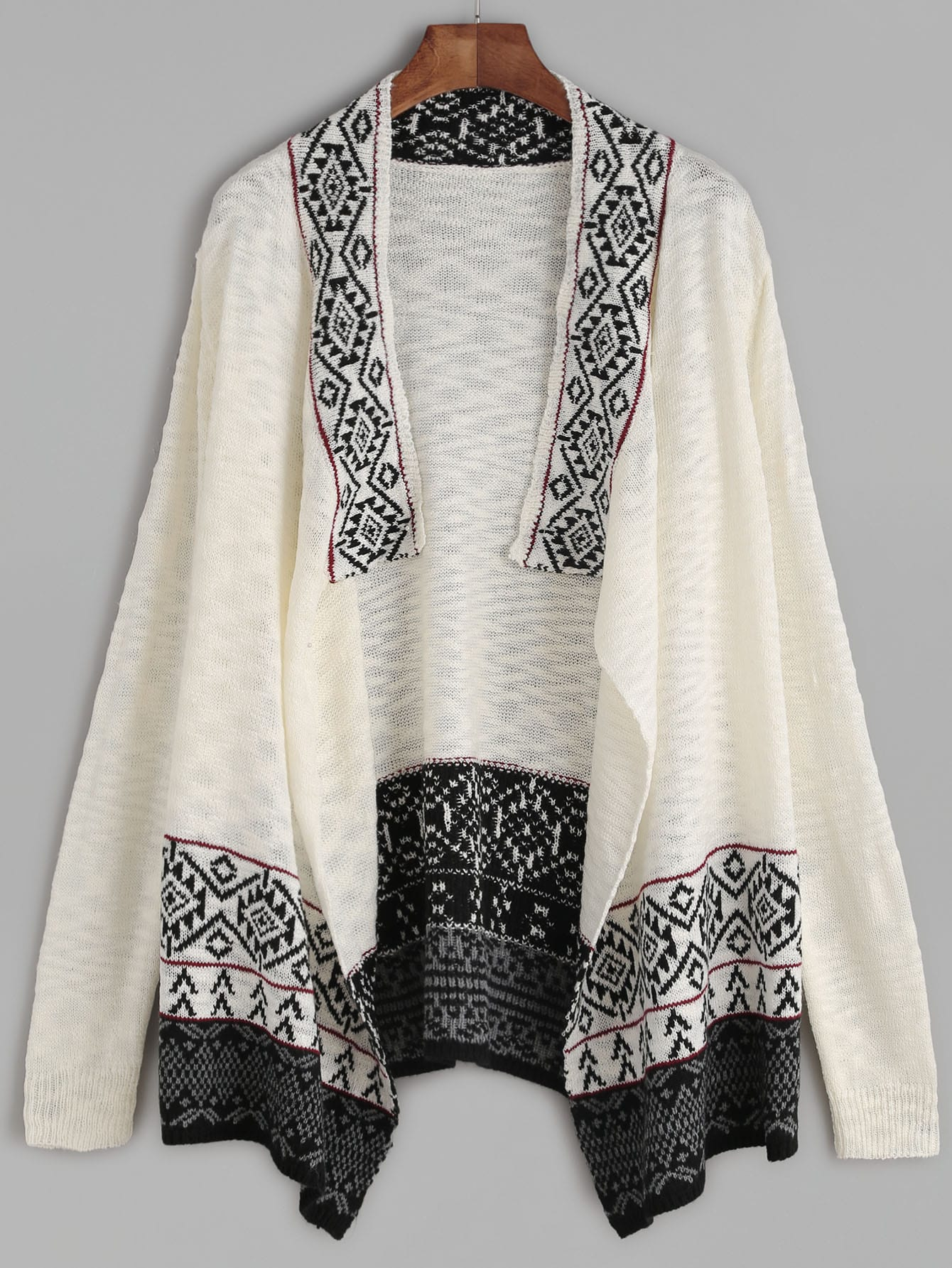 White Contrast Drape Collar Tribal Pattern Sweater CoatWhite Contrast Drape Collar Tribal Pattern Sweater Coat<br><br>color: White<br>size: one-size