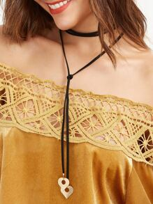 Black Cord Gold Heart Pendant Wrap Choker Necklace