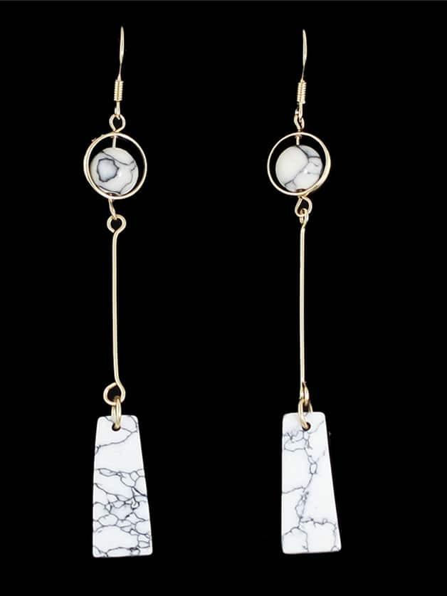 White Latest Imitation Turquoise Drop Earrings