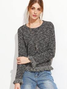 Black Marled Knit Frayed Trim Sweatshirt