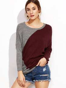 Contrast Drop Shoulder Pullover Sweater