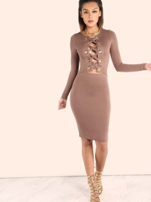 Sleeved Eyelet Lace Up Peakaboo Midi Dress COCOA