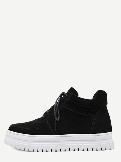 Black Plush Leather Lace Up Flatform Sneakers