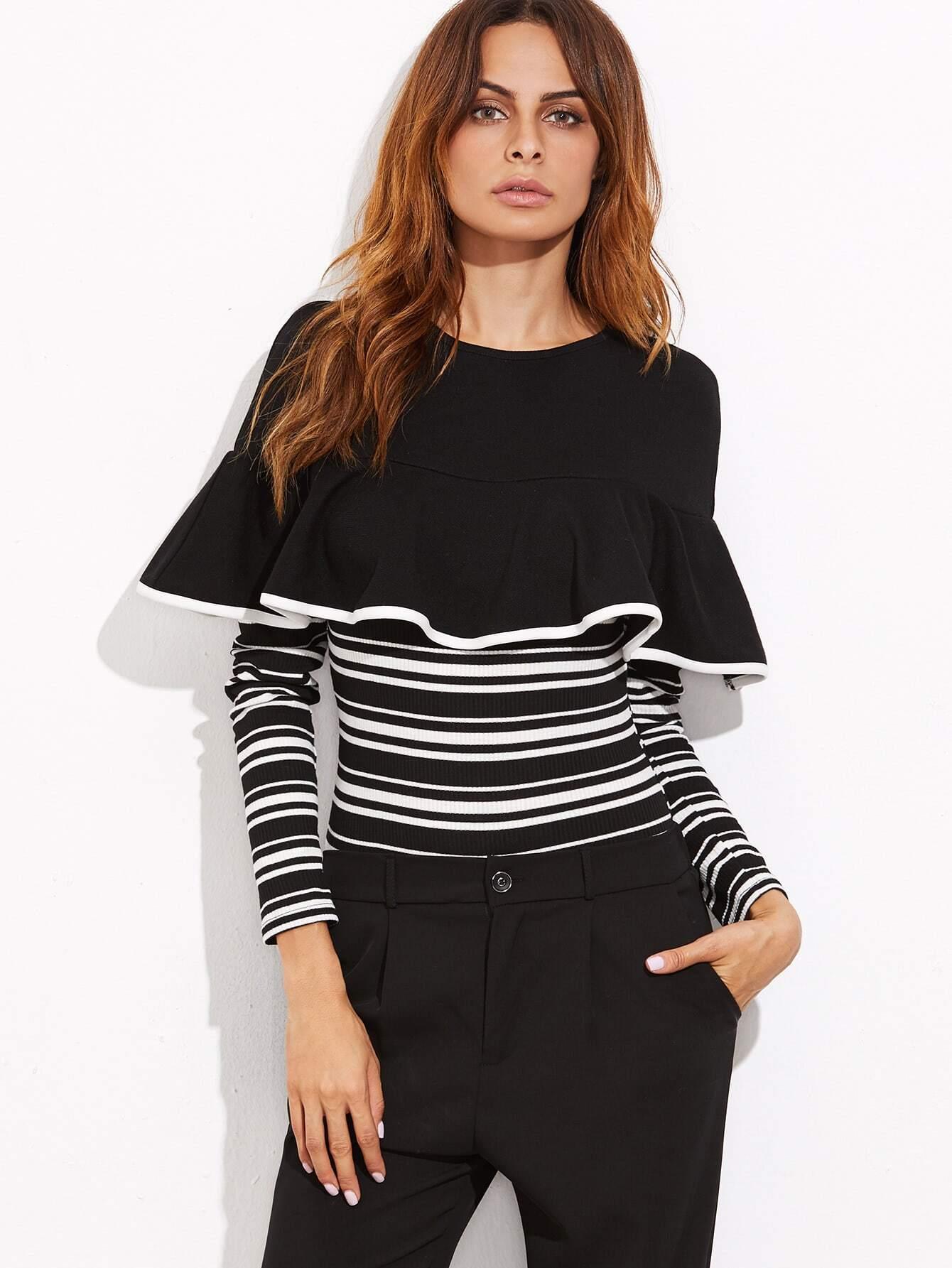 Contrast Striped Ruffle Trim Ribbed Bodysuit bodysuit161024702