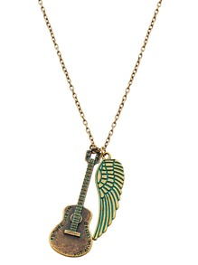 Gold And Green Guitar Wing Pendant Necklace