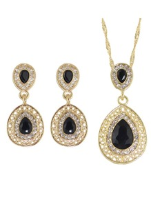 Black Elegant Rhinestone Necklace Earrings Wedding Jewelry Set
