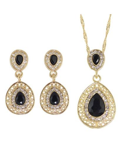 Black Elegant Rhinestone Necklace Earrings Wedding Jewelry Set