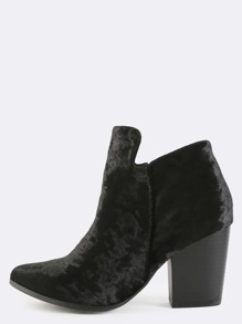 Crushed Velvet Pointy Toe Boots BLACK
