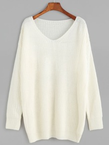 White V Neck Drop Shoulder Sweater