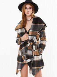 Multicolor Plaid Oversized Drape Collar Wrap Coat