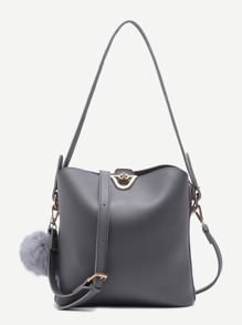 Grey PU Pom Pom Shoulder Bag With Convertible Strap