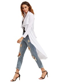 White Draped Collar Duster Coat