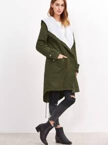 Olive Green Fleece Lined Hood High Low Utility Coat