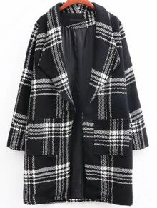 Black Plaid Shawl Collar Coat With Pocket