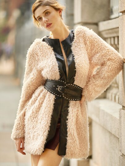 Pink Faux Leather Trim Fluffy Coat