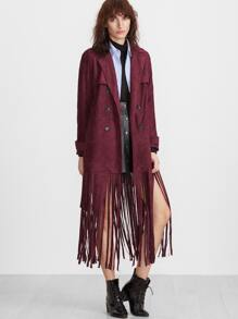 Burgundy Suede Overlap Back Fringe Trench Coat
