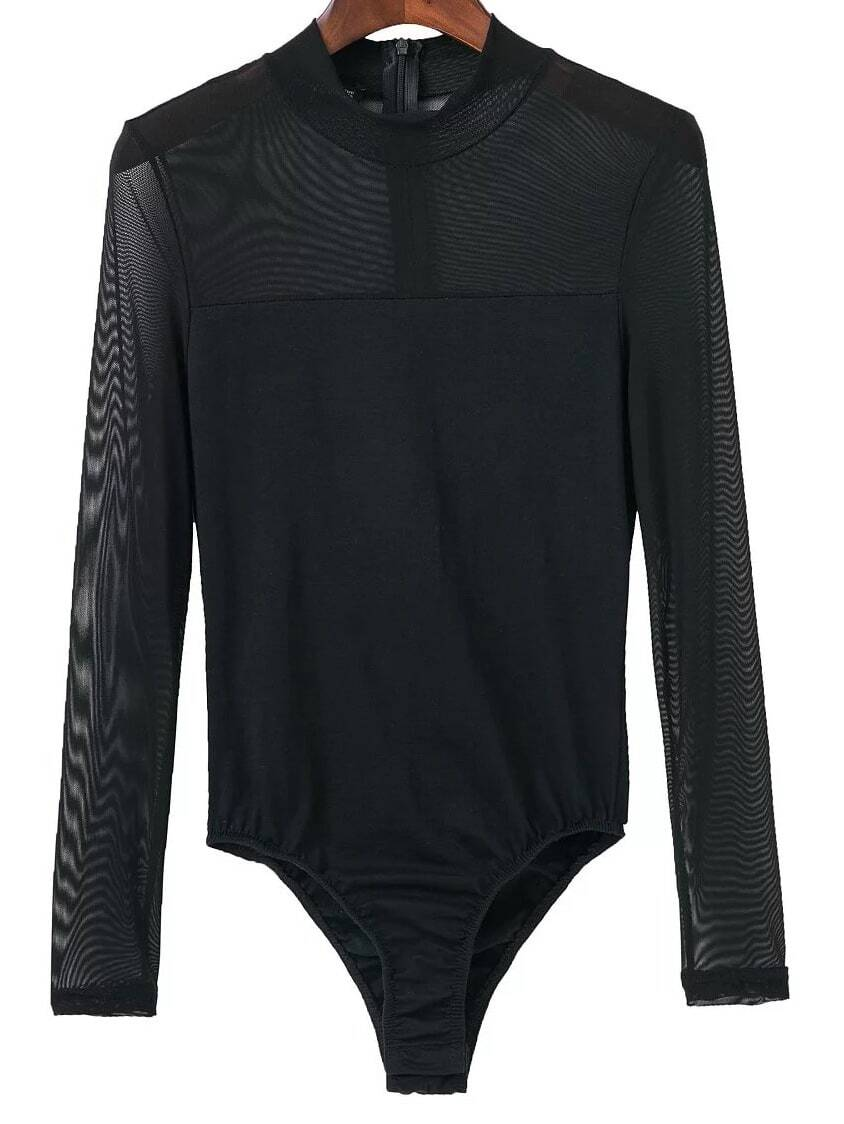 Black Mesh Crew Neck Zipper Bodysuit