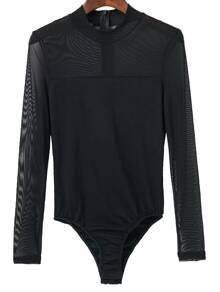 Body en mesh col rond avec zip - noir