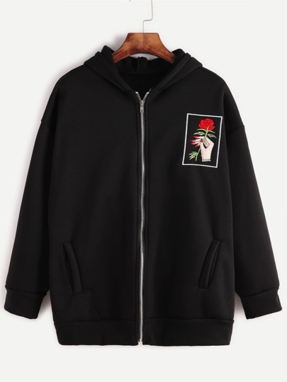 Black Drop Shoulder Embroidered Zip Up Hooded Sweatshirt