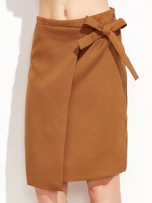 Khaki Bow Tie Zipper Back Skirt