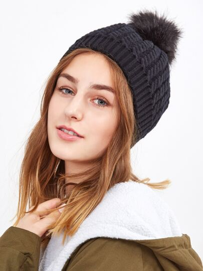 Black Ribbed Pom Pom Knit Hat