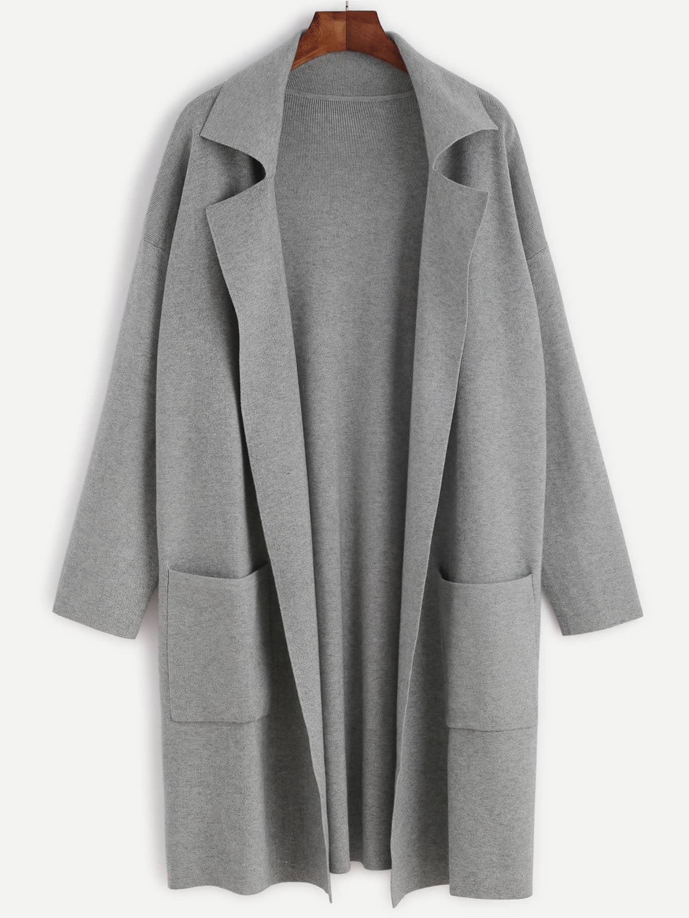 Heather Grey Drop Shoulder Open Front Sweater Coat With Pockets sweater160817709