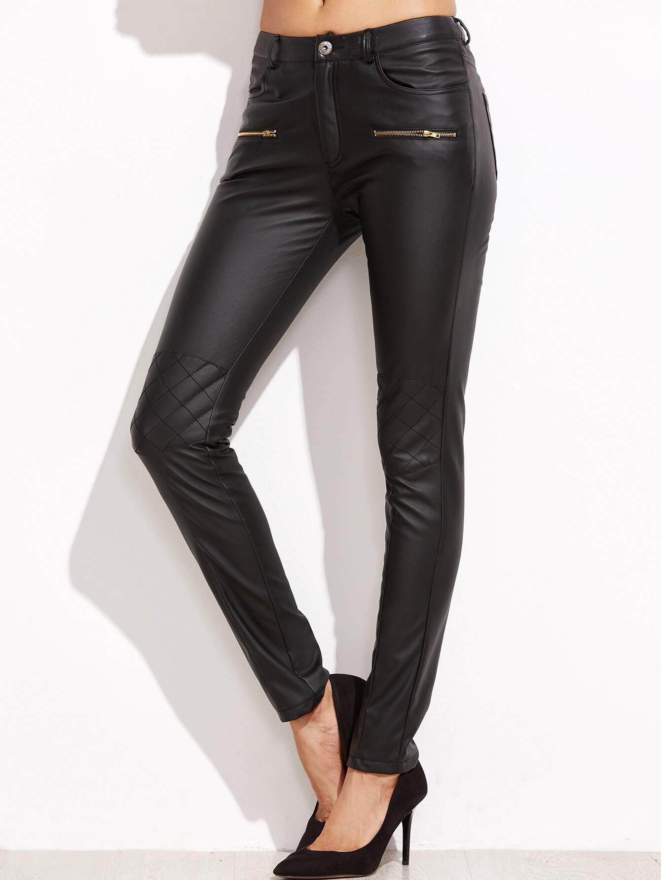 Фото Black Coated Quilted Knee Skinny Pants. Купить с доставкой