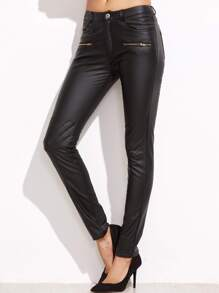 Black Coated Quilted Knee Skinny Pants