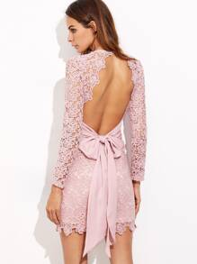 Pink Bow Tie Open Back Embroidered Lace Dress