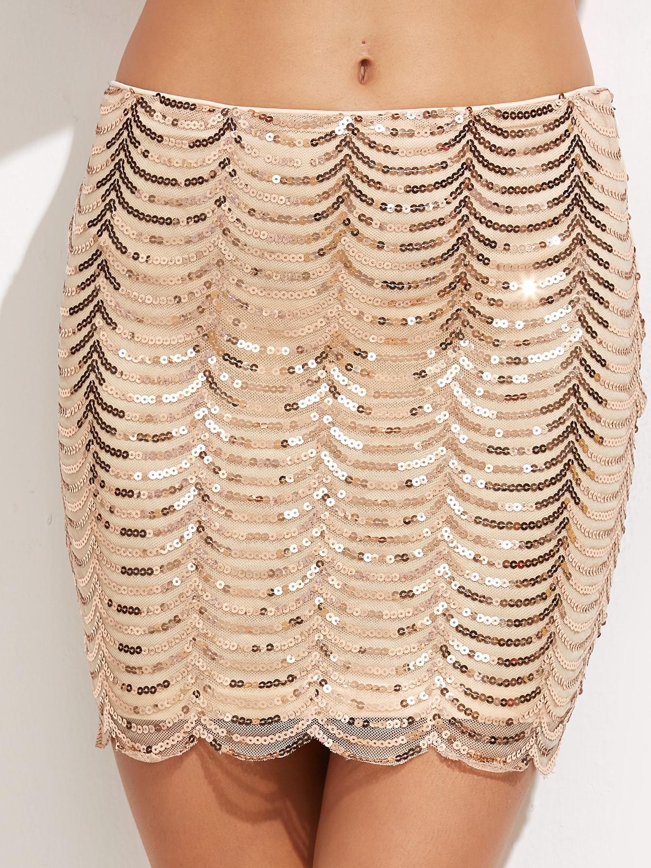 Scallop Hem Sequin Bodycon Skirt -SheIn(Sheinside)