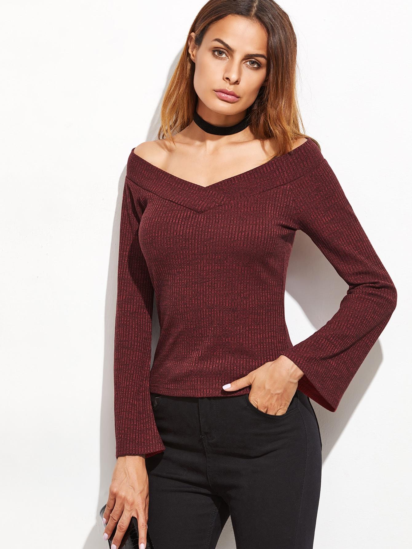 Фото Red V Neck Bell Sleeve T-Shirt. Купить с доставкой
