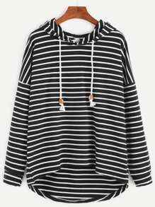 Hooded Striped Dip Hem Drawstring Sweatshirt