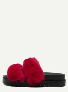 Red Rabbit Hair Peep Toe Flatform Slippers