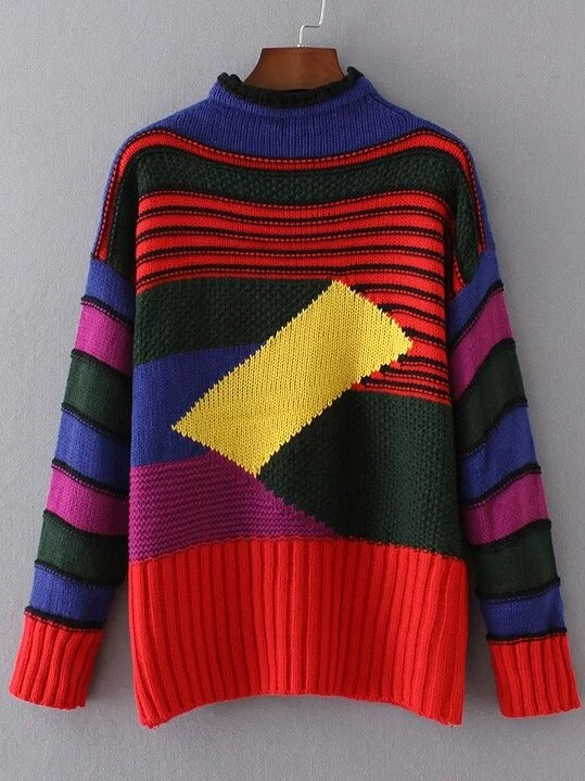 Color Block Crew Neck Ribbed Trim Sweater sweater161007208