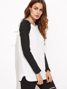 Contrast Striped Neck Raglan Sleeve Embossed T-shirt