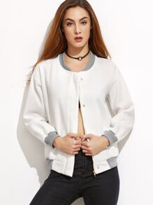 White Contrast Ribbed Trim Jacket