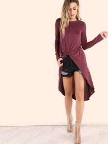Knotted Front High Low Top WINE