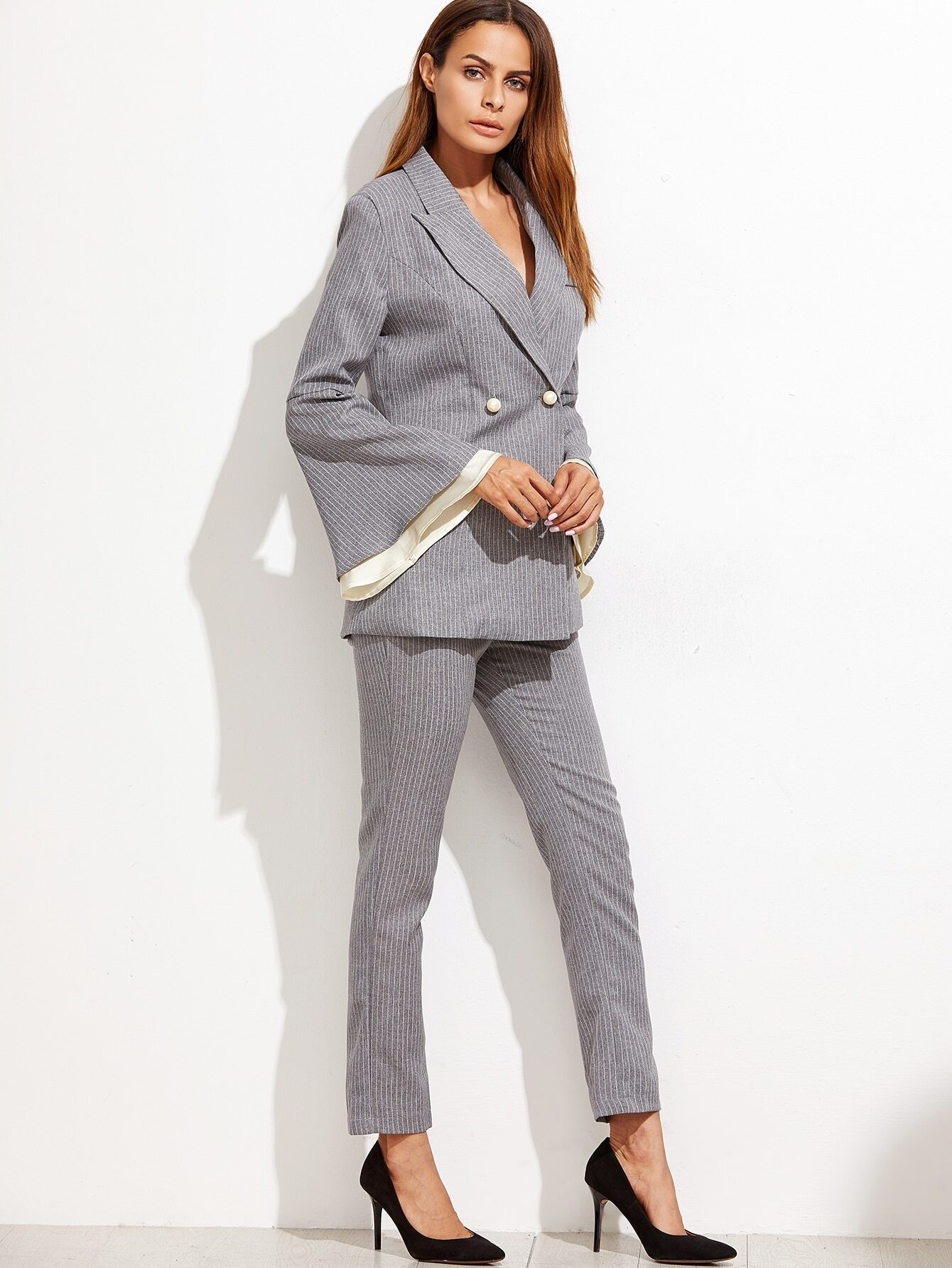Grey Vertical Striped Bell Sleeve Blazer With Pants -SheIn(Sheinside)