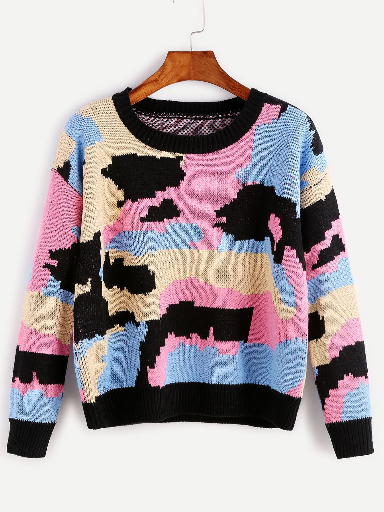 Multicolor Patchwork Ribbed Trim Sweater sweater160915455