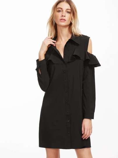 Black Cut Out Shoulder Ruffle Trim Shirt Dress