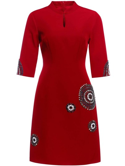 Red Collar Hollow Beading Shift Dress