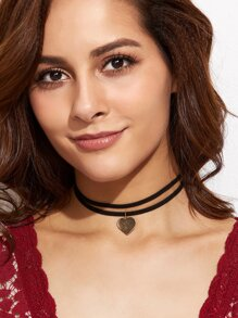 Black Double Strand Heart Choker Necklace