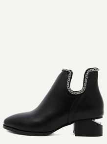Black PU Point Toe Ankle Chain Boots