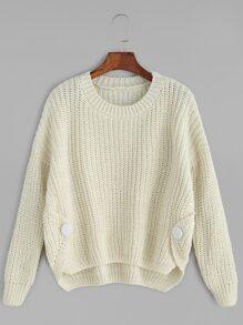 Beige Button Detail Dip Hem Sweater