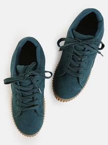 Suede Flatform Creeper Sneakers GREEN