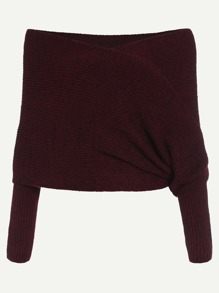 Burgundy Marled Off The Shoulder Cross Wrap Sweater