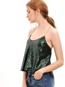 Dark Green Criss Cross Sequined Cami Top