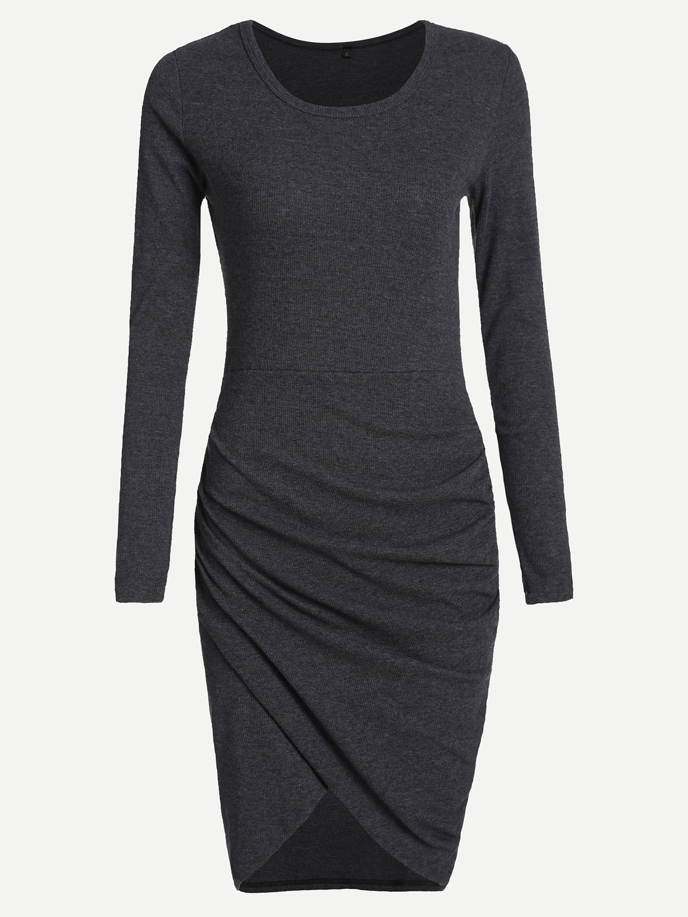 Grey Round Neck Long Sleeve Dress dress161011482