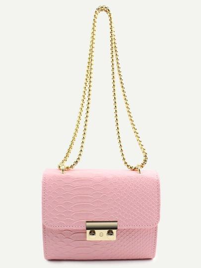 Mini Pink Crocodile Embossed PU Flap Chain Bag